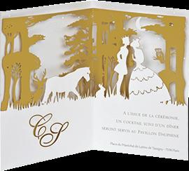 fabricant de faire part de mariage original et chic en d coupe laser cartes pop up invitation. Black Bedroom Furniture Sets. Home Design Ideas